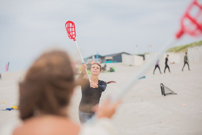 Lacrosse op het strand